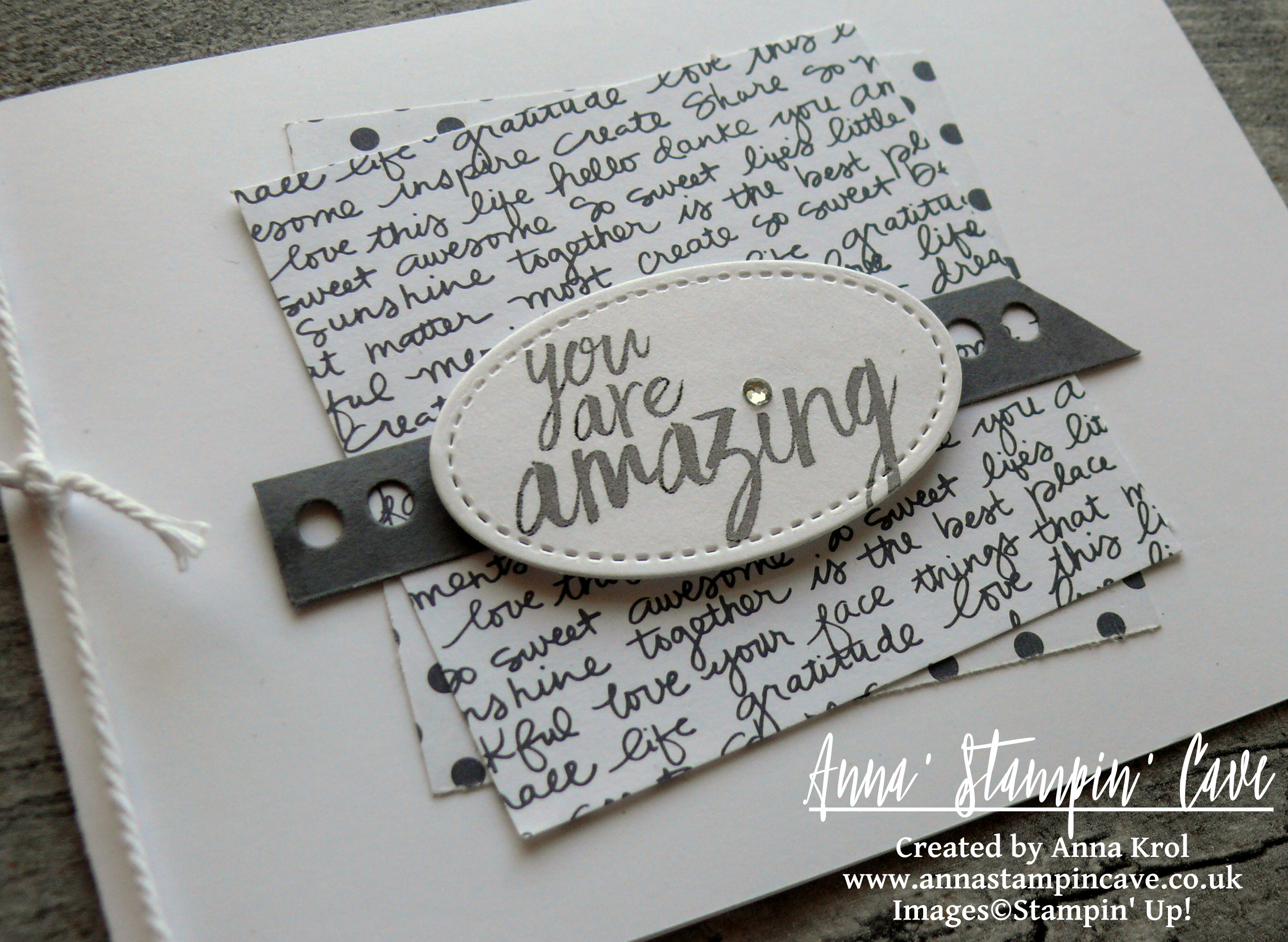 Anna' Stampin' Cave - All Things Thanks Stamp Set by Stampin' Up! Monochromatic CAS Card You Are Amazing.JPG