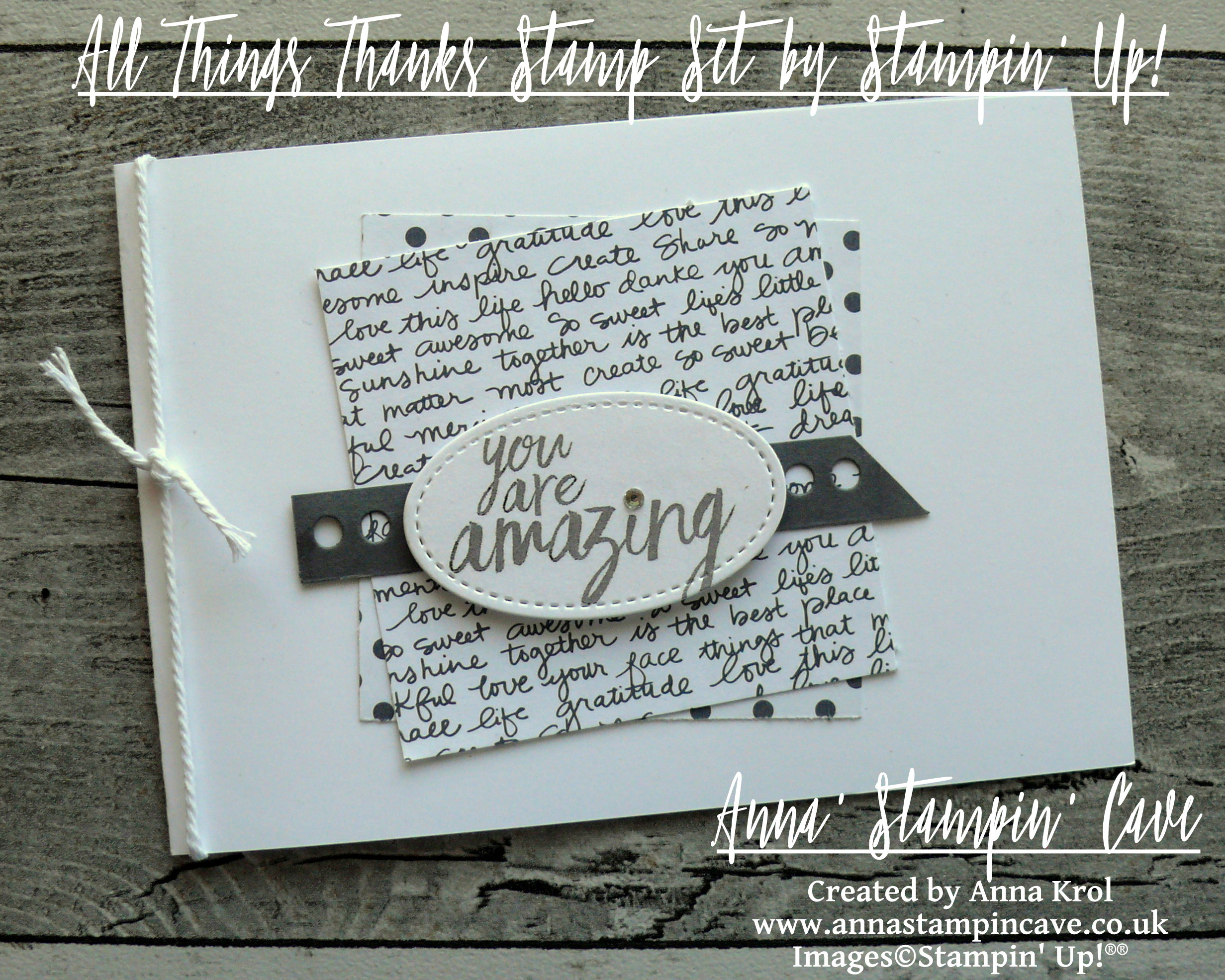 Anna' Stampin' Cave - Stampin' Up! All Things Thanks Stamp Set Monochromatic CAS Card You Are Amazing.JPG