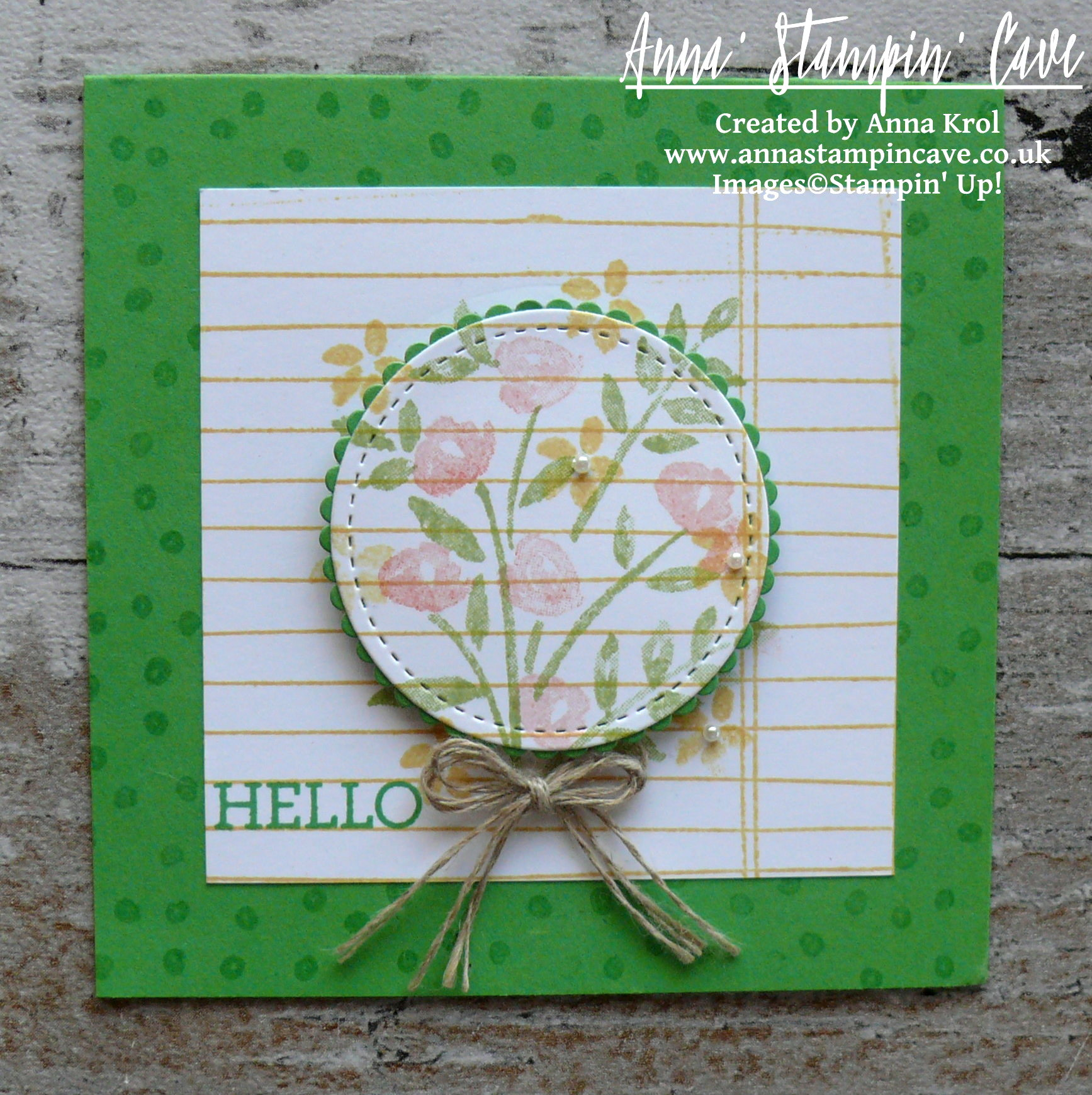 Anna' Stampin' Cave - Stampin' Up! Number Of Years Stamp Set - Hello Spring Cucumber Crush Notecard