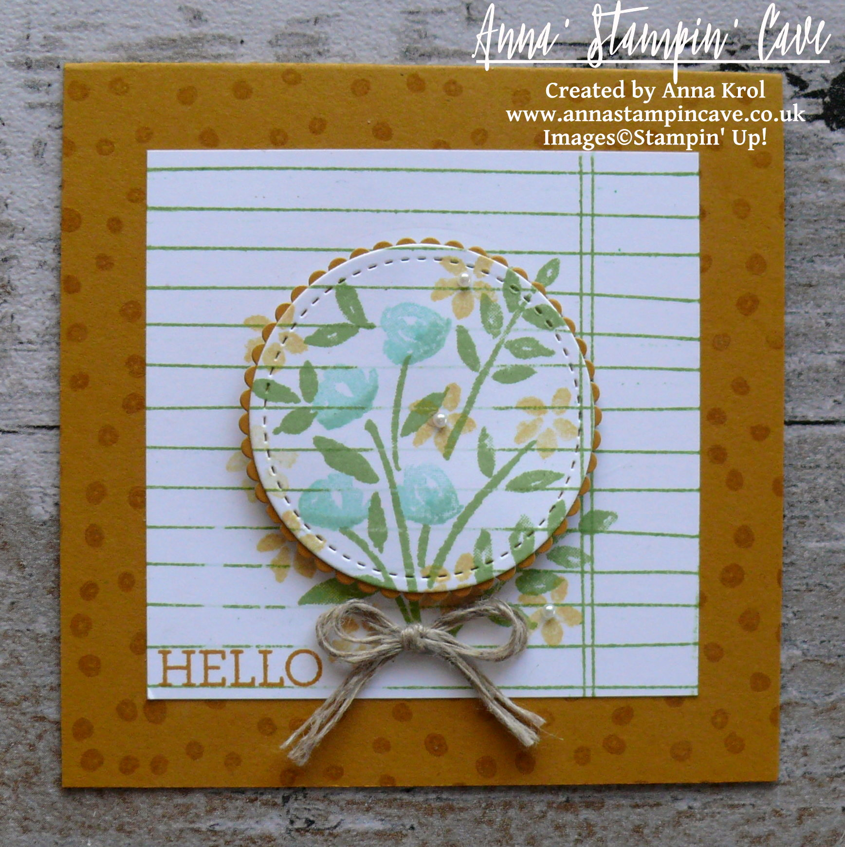 Anna' Stampin' Cave - Stampin' Up! Number Of Years Stamp Set - Hello Spring Delightful Dijon Notecard.JPG