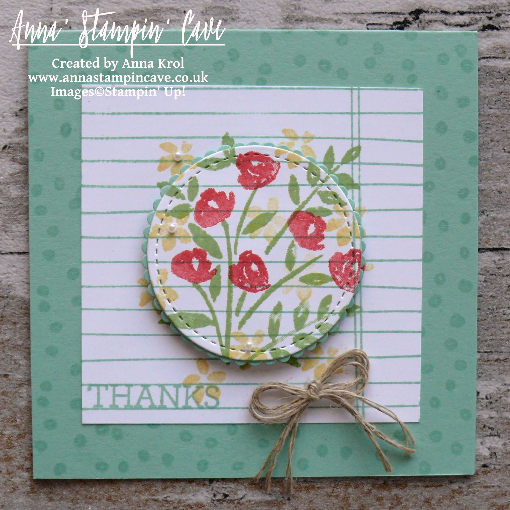 Anna' Stampin' Cave - Stampin' Up! Number Of Years Stamp Set - Hello Spring Mint Macaron Notecard