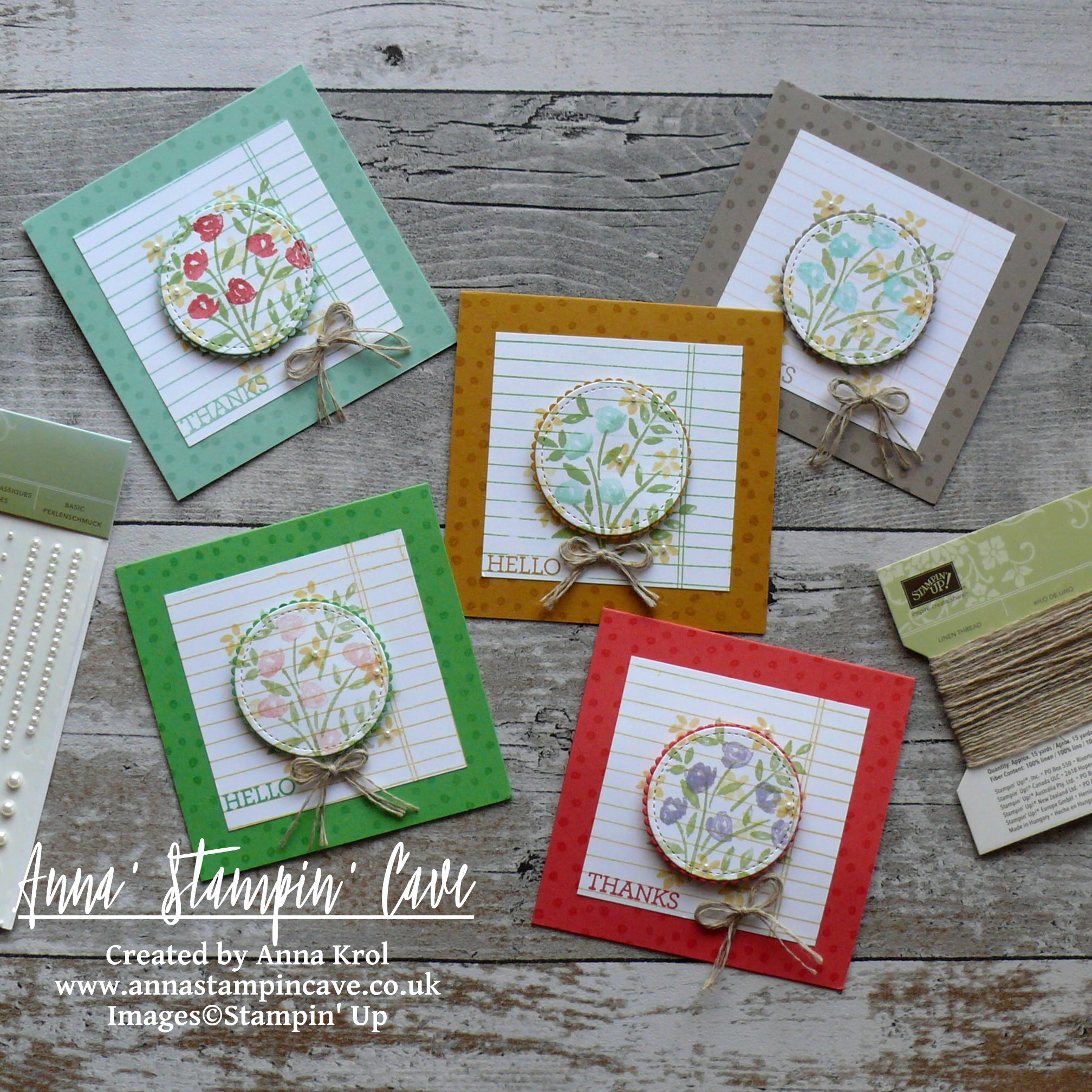 Anna' Stampin' Cave - Stampin' Up! Number Of Years Stamp Set - Hello Spring Set of Notecards 2.JPG