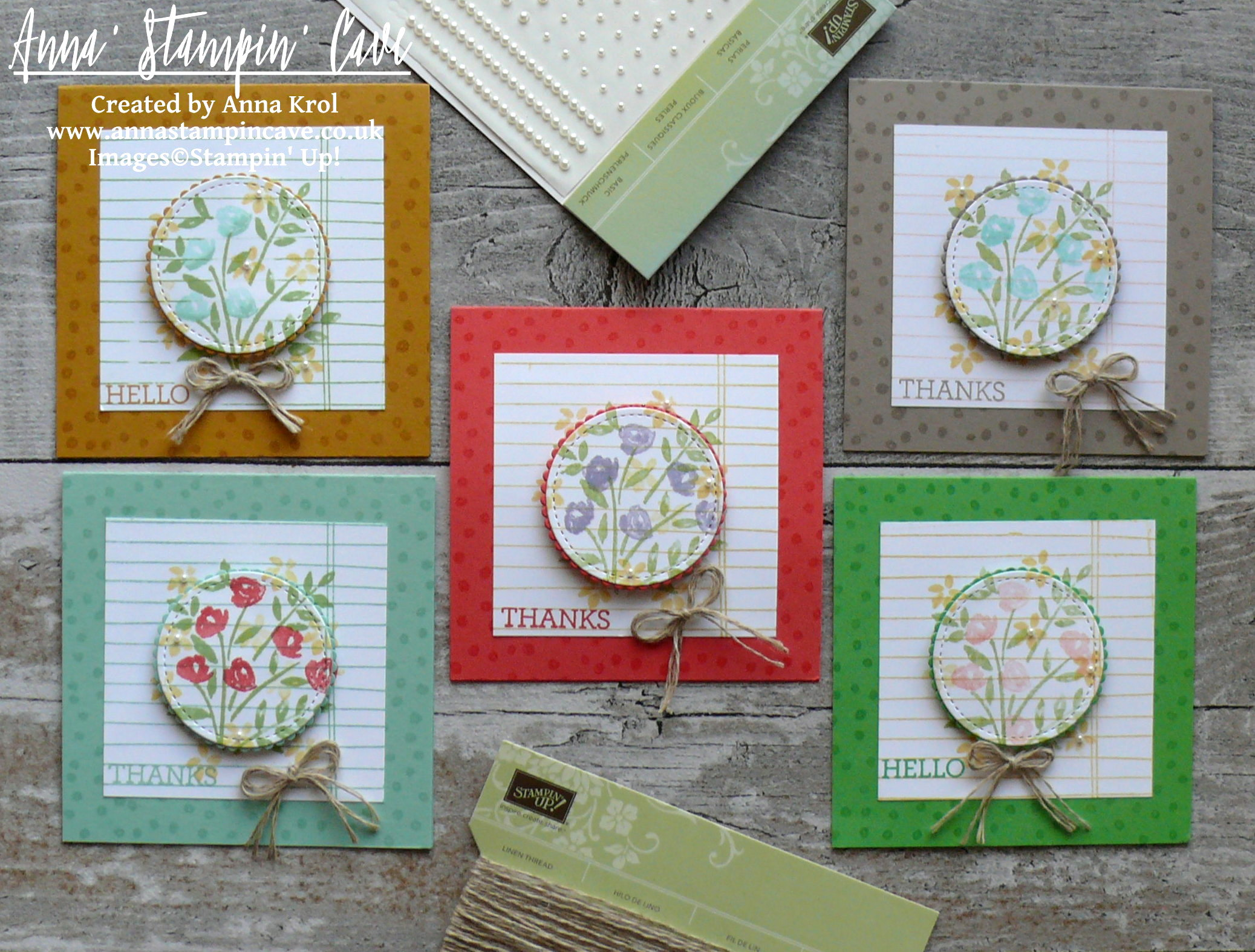 Anna' Stampin' Cave - Stampin' Up! Number Of Years Stamp Set - Hello Spring Set of Notecards 3.JPG