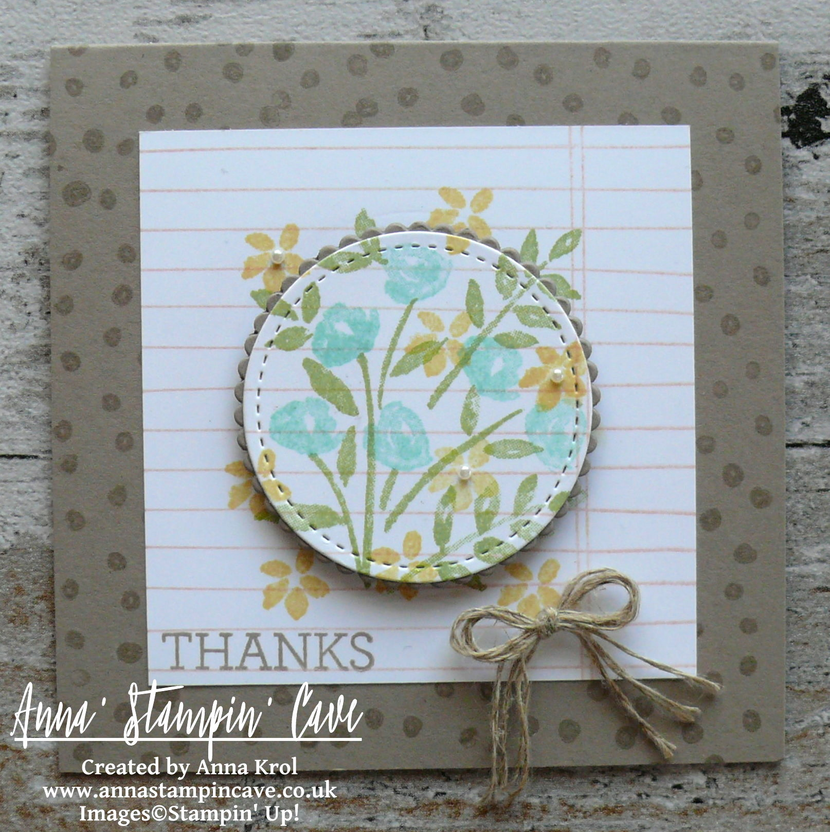 Anna' Stampin' Cave - Stampin' Up! Number Of Years Stamp Set - Hello Spring Tip Top Taupe Notecard