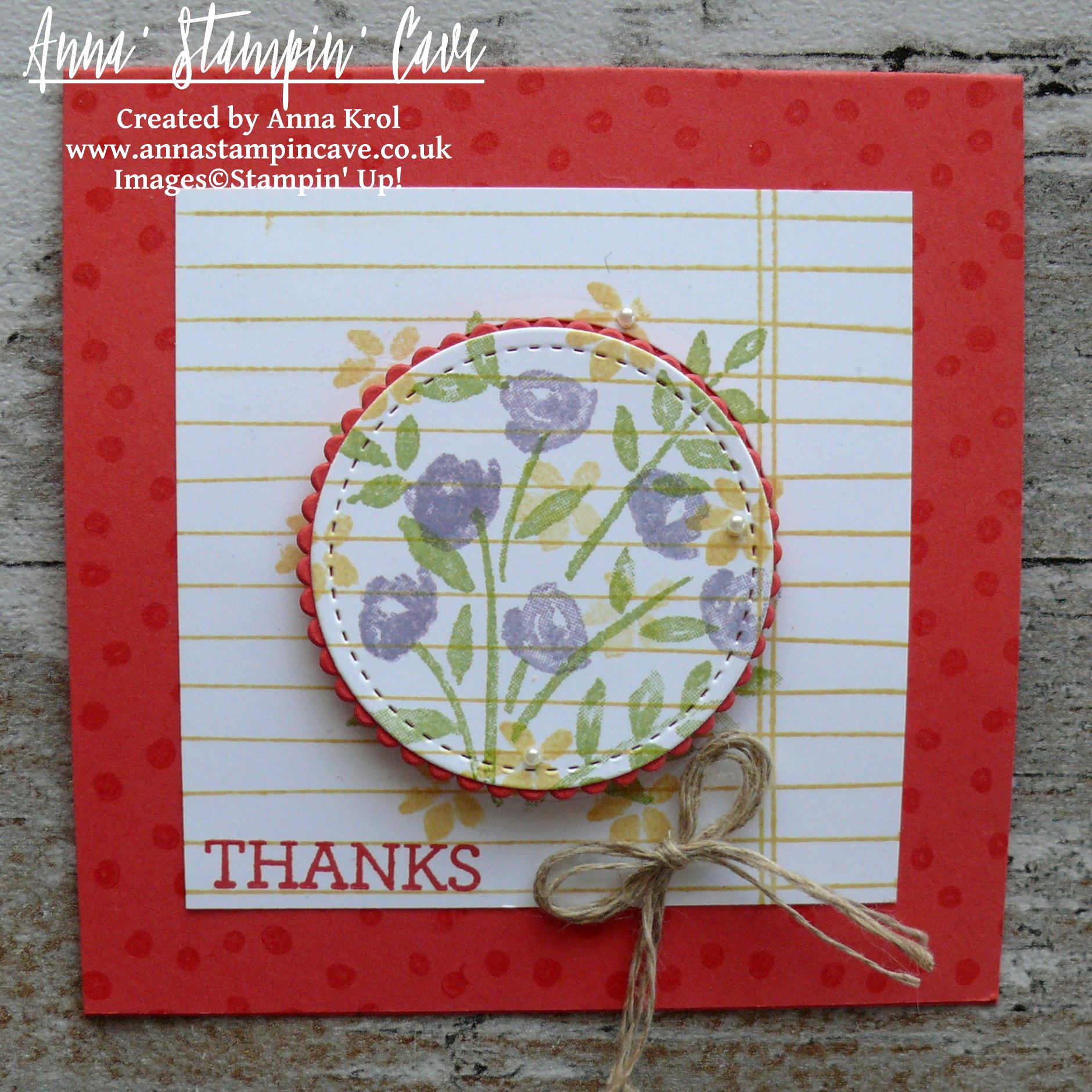 Anna' Stampin' Cave - Stampin' Up! Number Of Years Stamp Set - Hello Spring Watermelon Wonder Notecard