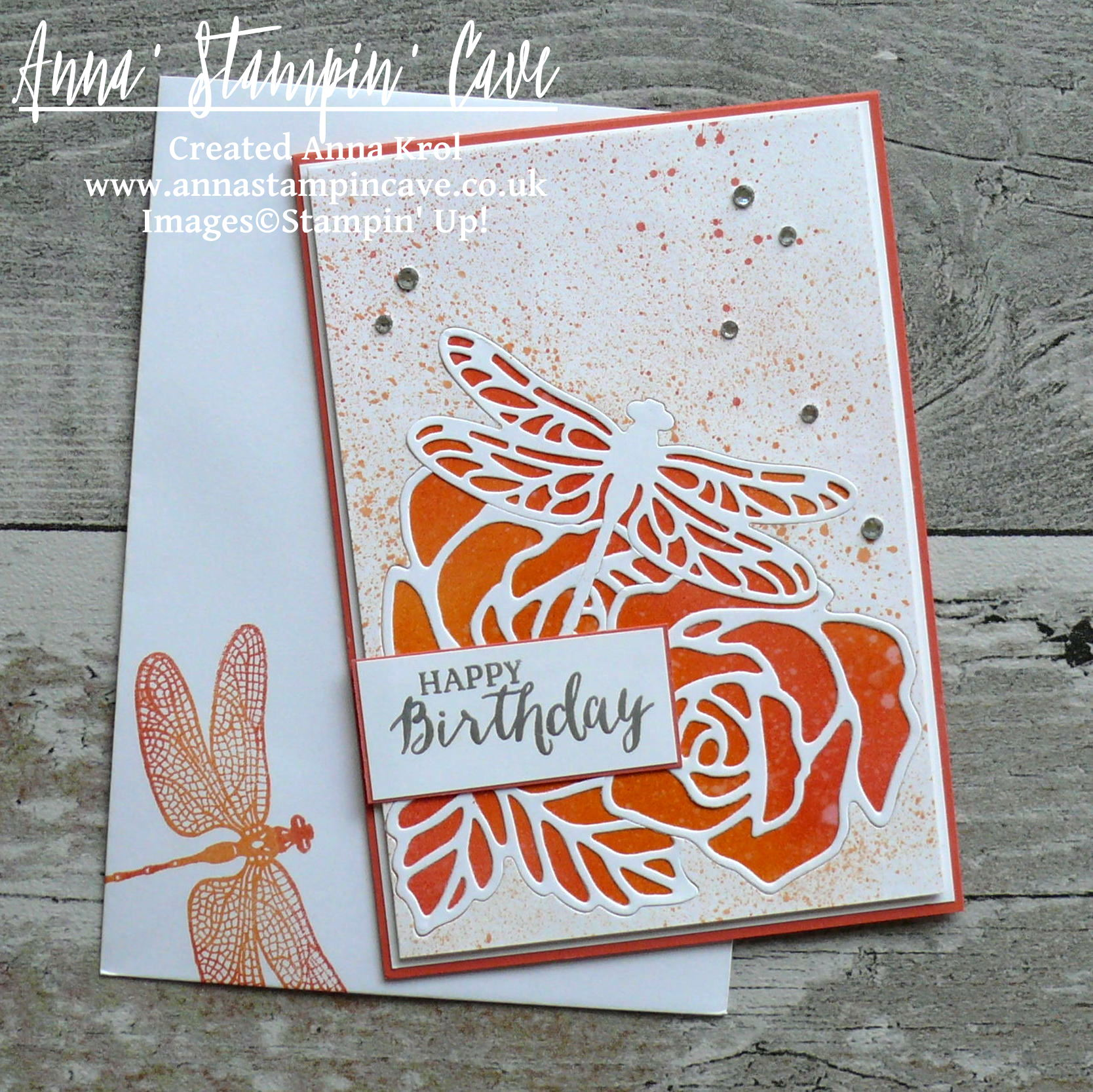 Anna' Stampin' Cave - Roses And Dragonfly Birthday Card using Inlaid Partial Die Cutting_Stampin' Up! Rose Garden Thinlits Dies_Detailed Dragonfly Thinlits Dies 3