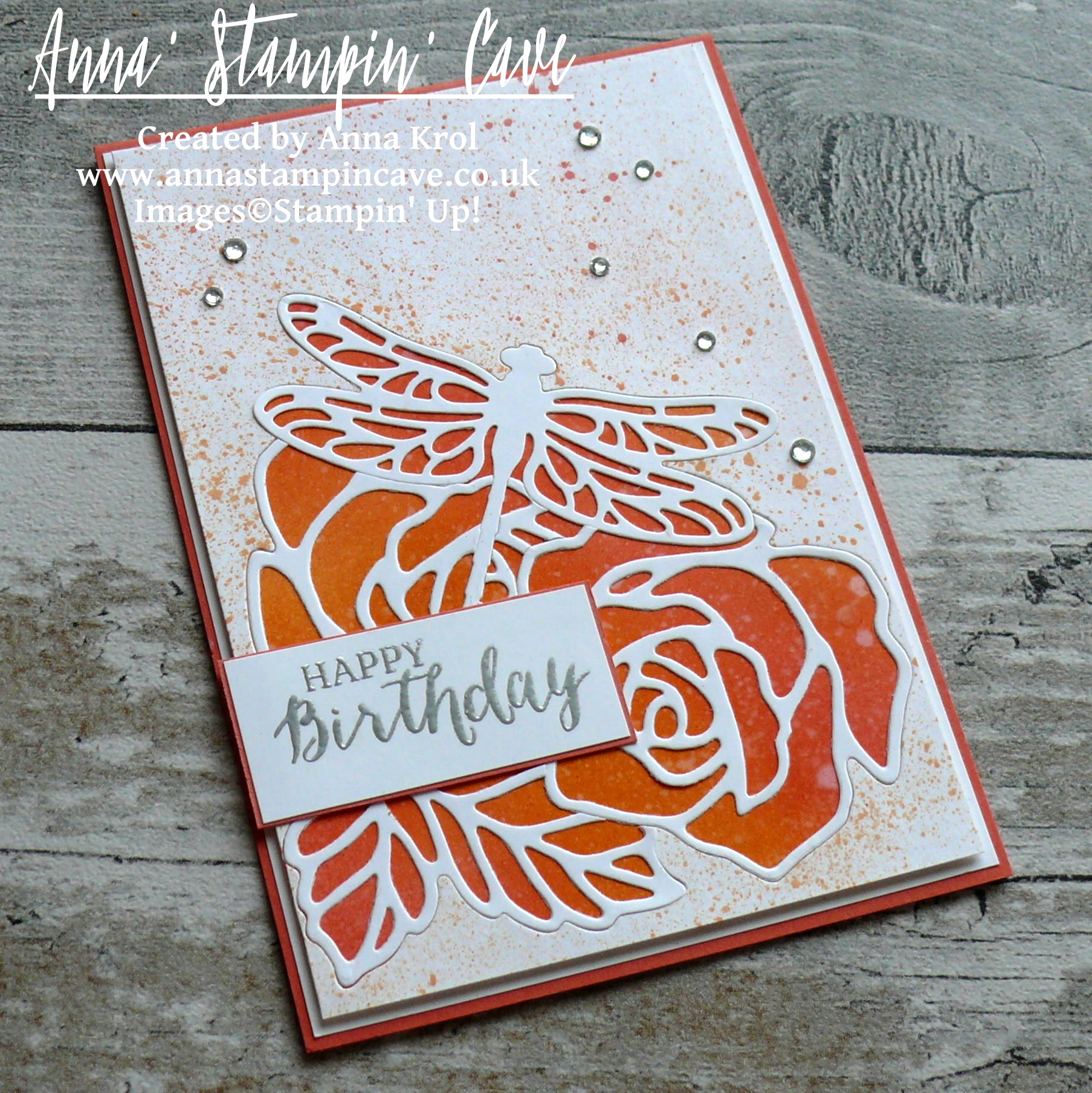 Anna' Stampin' Cave - Roses And Dragonfly Birthday Card using Inlaid Partial Die Cutting_Stampin' Up! Rose Garden Thinlits Dies_Detailed Dragonfly Thinlits Dies 4
