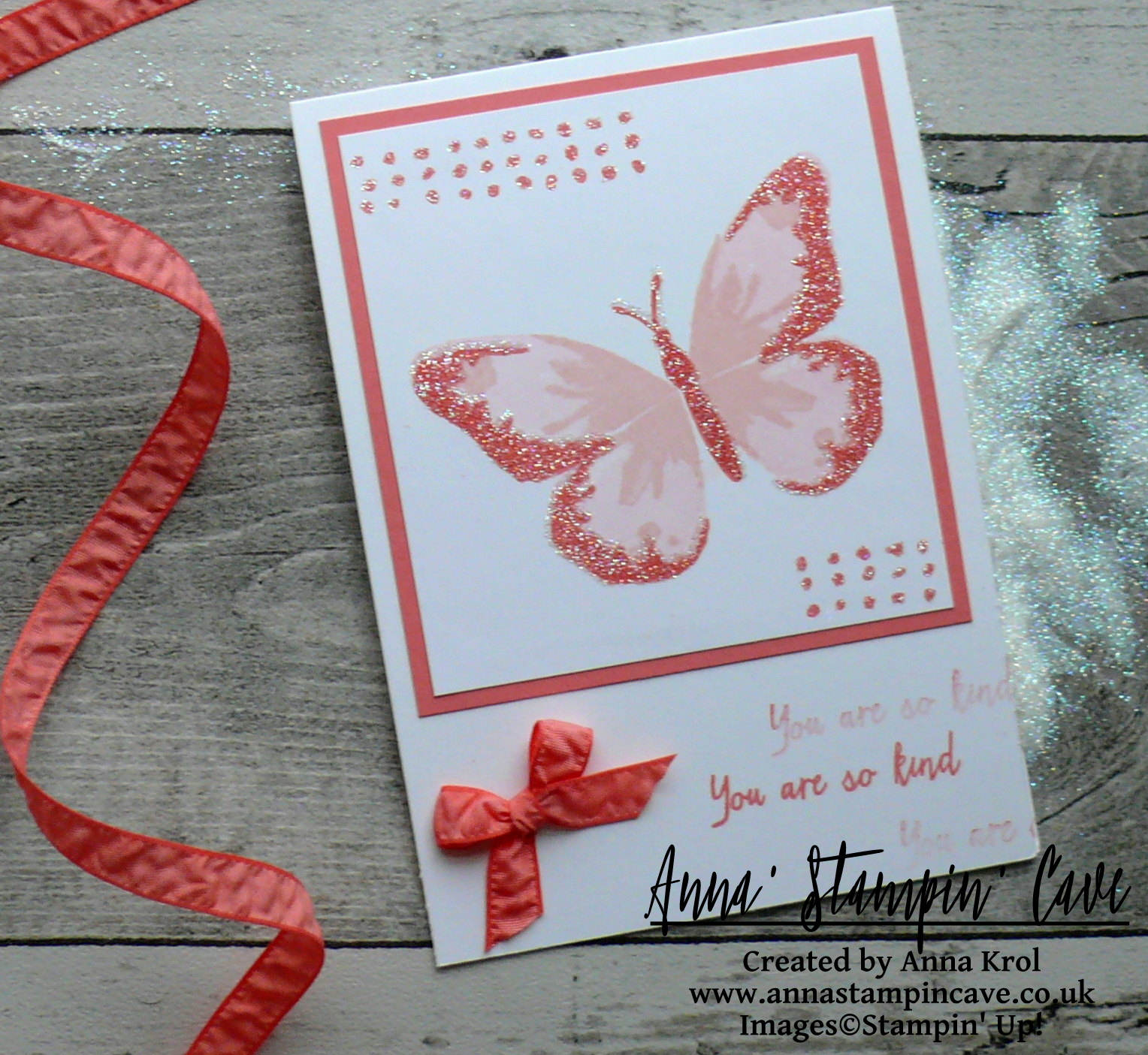 Anna' Stampin' Cave - Stampin' Up! Watercolour Wings Stamp Set - Good Things Come In Three CAS Card - GDP #083 - Flirty Flamingo_Whisper White_Dazzling Diamonds Glitter_heat&stick