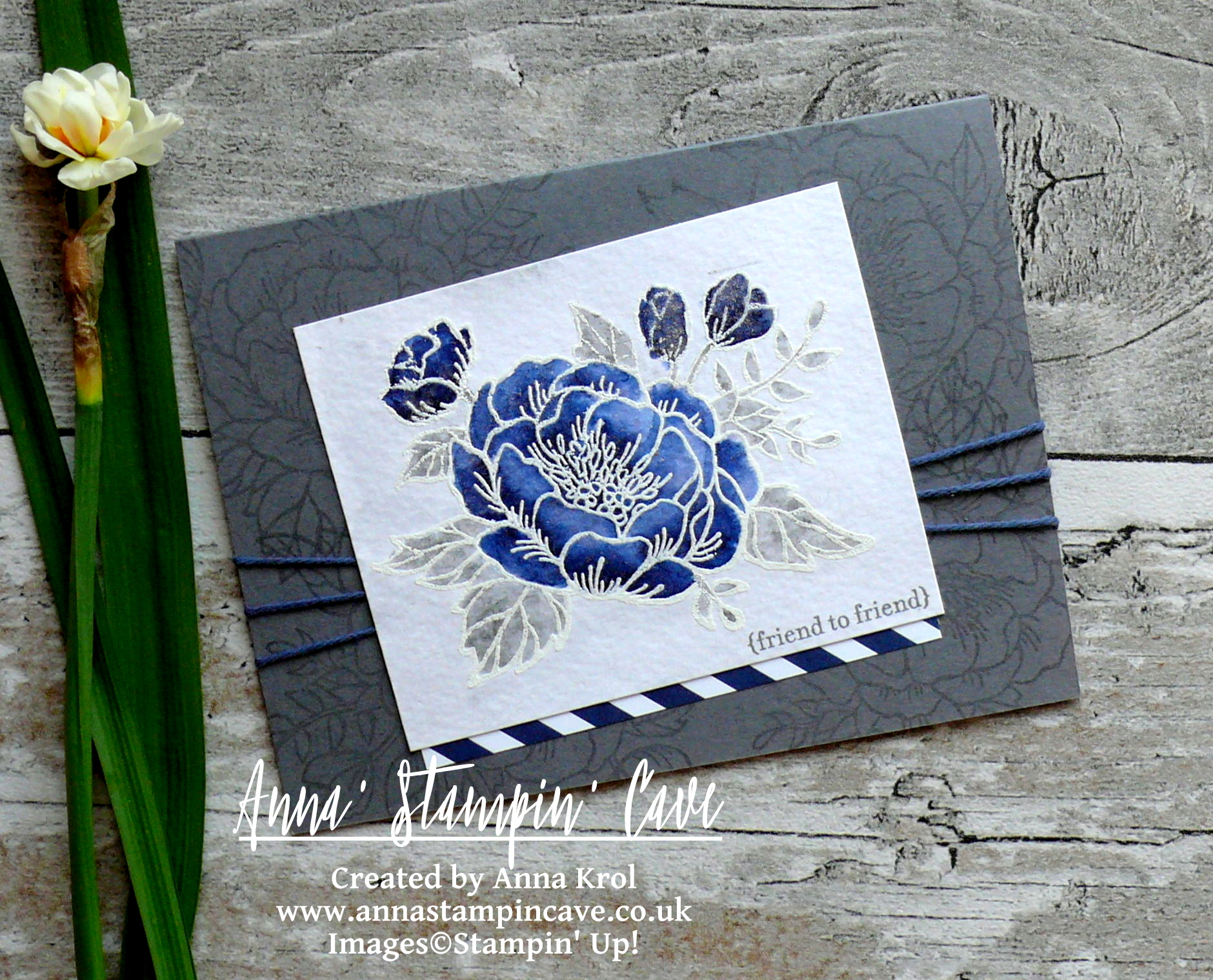 Anna' Stampin' Cave_Stampin' Up! Birthday Blooms Stamp Set_Watercolour Card_Basic Grey Night Of Navy