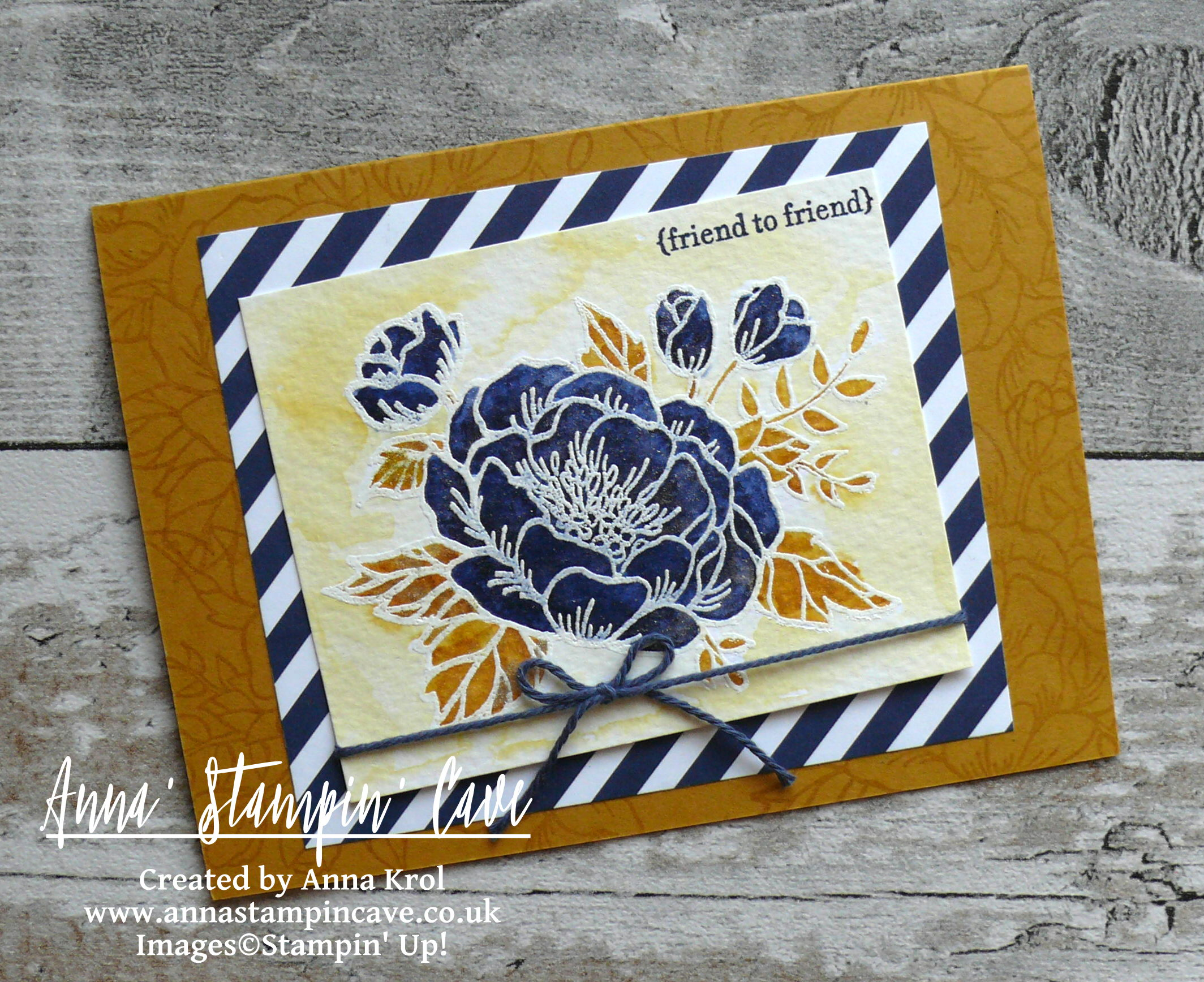 Anna' Stampin' Cave_Stampin' Up! Birthday Blooms Stamp Set_Watercolour Card_Delightful Dijon Night Of Navy 2