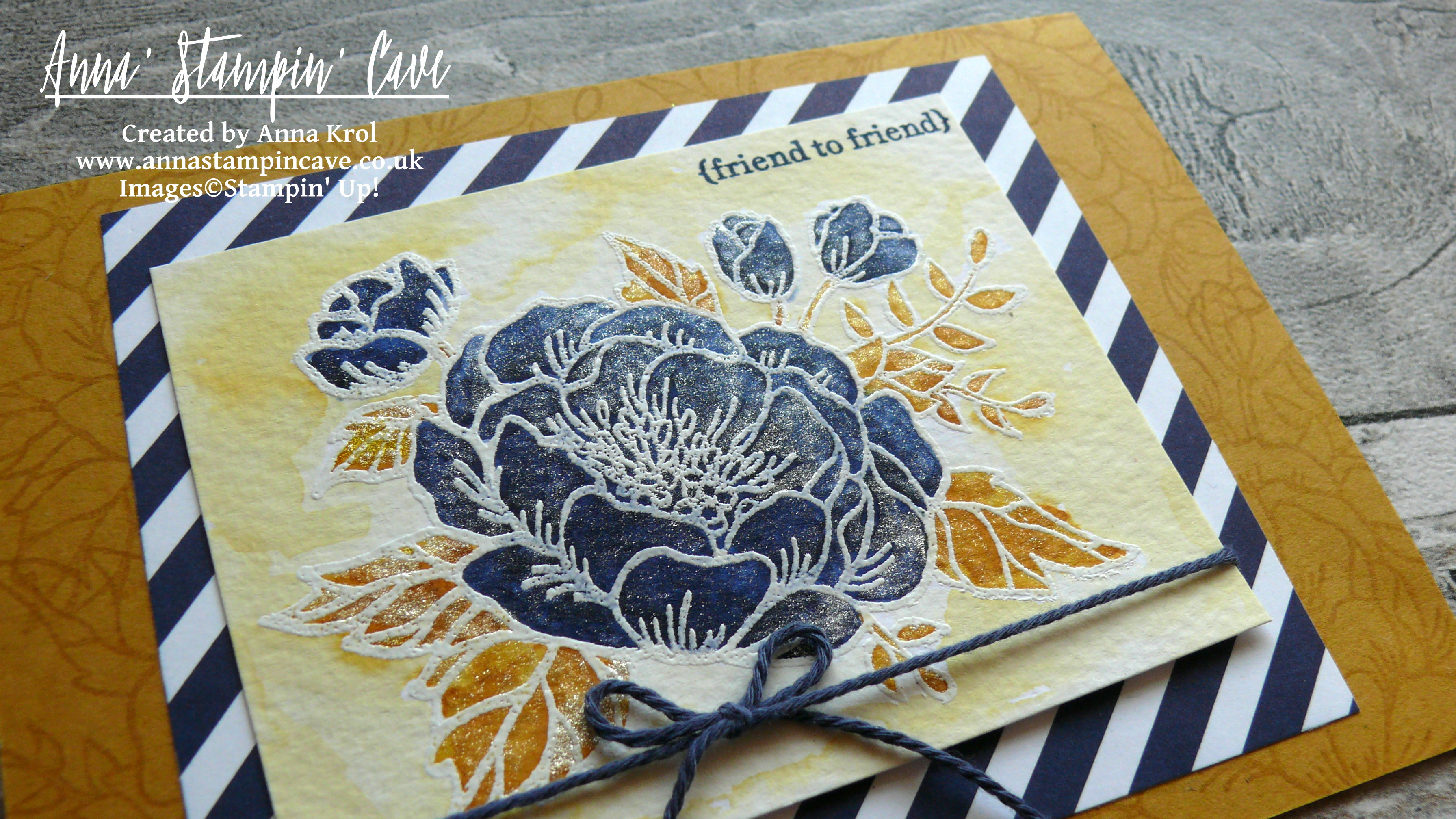 Anna' Stampin' Cave_Stampin' Up! Birthday Blooms Stamp Set_Watercolour Card_Delightful Dijon Night Of Navy 3