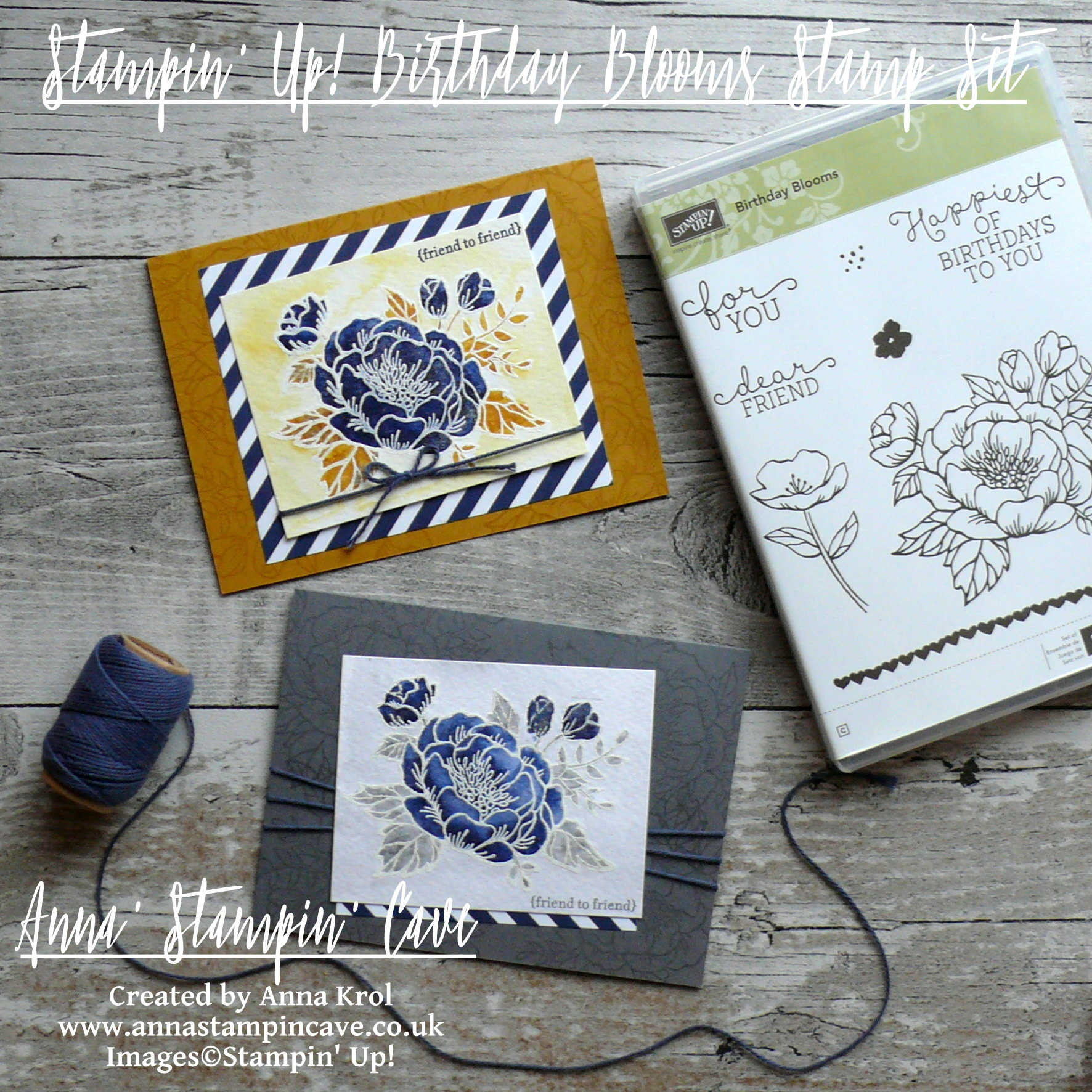 Anna' Stampin' Cave_Stampin' Up! Birthday Blooms Stamp Set_Watercolour Card_Delightful Dijon with Night Of Navy_Basic Grey with Night Of Navy