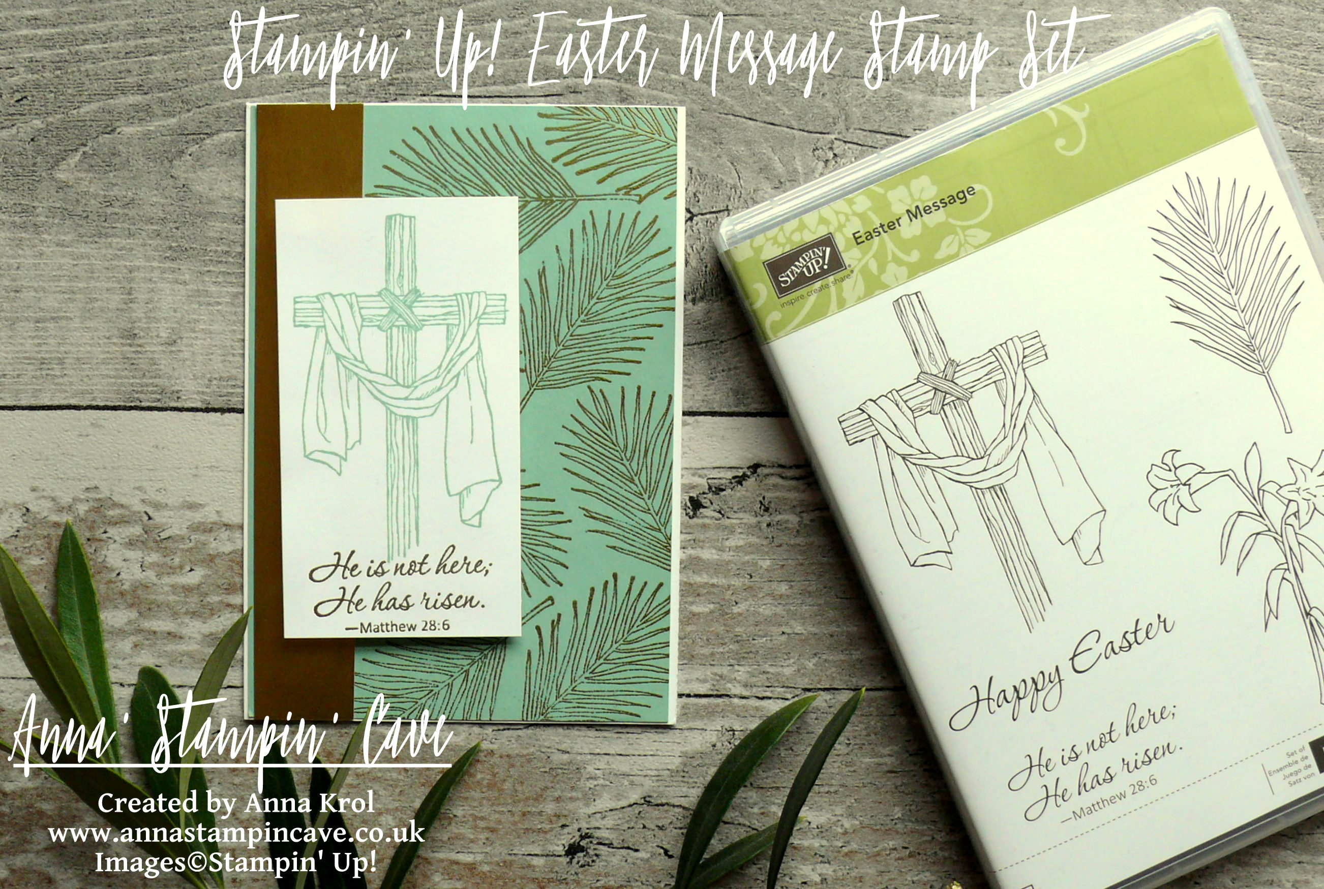 Anna' Stampin' Cave_Stampin' Up! Easter Message Stamp Set_Mint Macaron_gold foil_gold heat embossing_clean and simple_Jesus is risen