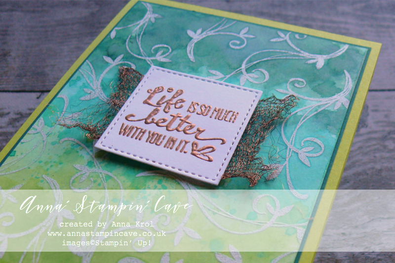 Anna' Stampin' Cave - Emboss Resist Watercolour background using Beautiful Peacock Stamp Set