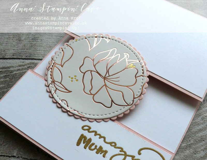 Anna' Stampin' Cave - Mother's Day Fun Fold Split Card using Amazing You Stamp Set, Apron of Love Stamp Set & Springtime Foils Specialty DSP from Stampin' Up!