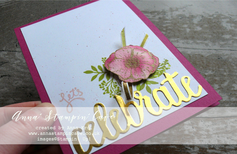 Anna' Stampin' Cave - Let's Celebrate Clean &  Simple Card using Stampin' Up! Amazing You Stamp Set - Powder Pink, Berry Burst & Gold Foil