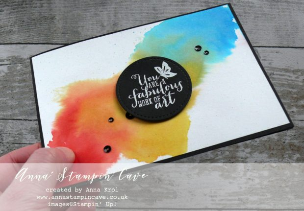 Anna' Stampin' Cave - rainbow watercolour wash using Stampin' Up! Work of Art Stamp Set for World Autism Awareness Day Blog Hop