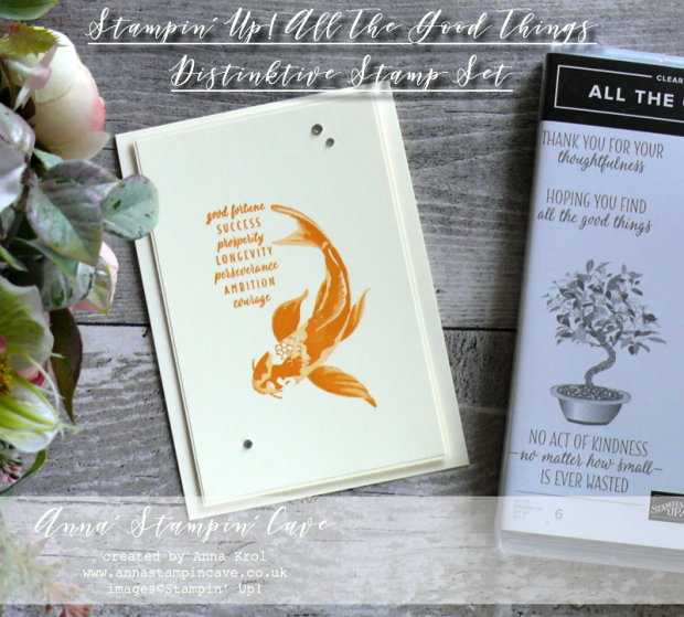 Anna' Stampin' Cave - Clean & Simple Card using All The Good Things Stampin' Up! Distinktive Stamp Set. Koi carp - Mango Melody ink pad