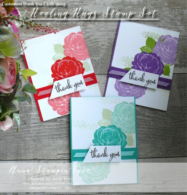 Anna' Stampin' Cave - Customers Thank You Cards using DistINKtive Healing Hugs Stamp Set by Stampin' Up! in Poppy Parade Gorgeous Grunge Bermuda Bay