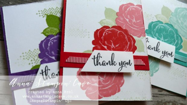 Anna' Stampin' Cave - Customers Thank You Cards using DistINKtive Healing Hugs Stamp Set by Stampin' Up! in Poppy Parade, Gorgeous Grunge, Bermuda Bay Colours
