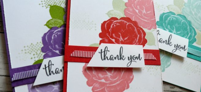 Anna' Stampin' Cave - Customers Thank You Cards using DistINKtive Healing Hugs Stamp Set by Stampin' Up! in Poppy Parade, Gorgeous Grunge & Bermuda Bay Colours