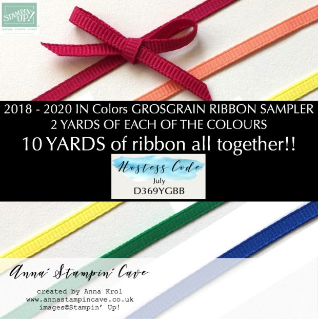 Anna' Stampin' Cave JULY HOST GIFT 2018-2020 IN COLOR® Grosgrain Ribbon Sampler