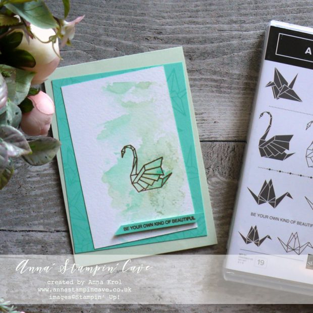 Anna' Stampin' Cave - Soft Sea Foam & Coastal Cabana Watercolour Wash with a touch of gold using Artfully Folded Stamp Set by Stampin' Up!