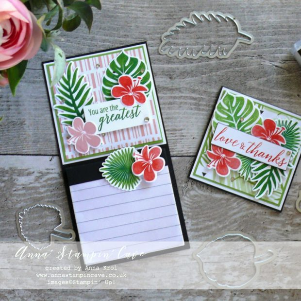 Anna' Stampin' Cave - Teacher's Thank You Gift Fridge Magnet and Thank You card using Tropical Chic Stamp Set and Tropical Thinlits Dies from Stampin' Up!