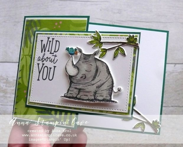 Anna' Stampin' Cave - Creating Kindness Design Team Blog Hop. Animal Outing Bundle with Tropical Escape DSP from Stampin' Up!