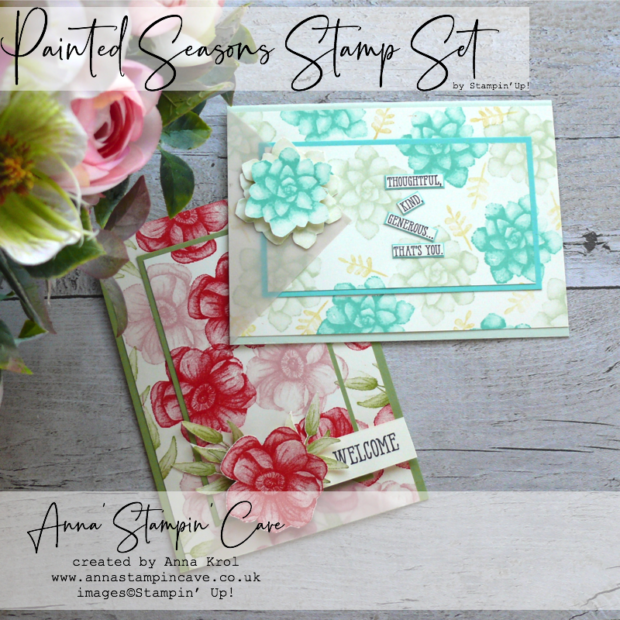 Anna' Stampin' Cave - Painted Seasons Stamp Set double layer stamping technique