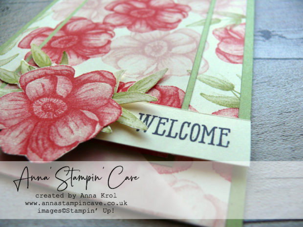 Anna' Stampin' Cave - Painted Seasons Stamp Set double layer stamping technique with bright Poppy Parade and Pear Pizzazz