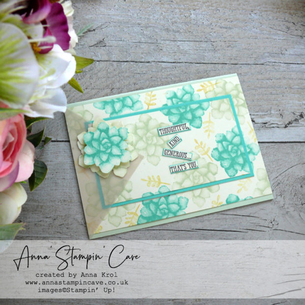Anna' Stampin' Cave - Painted Seasons Stamp Set double layer stamping technique with Coastal Cabana blue and Soft Sea Foam pastel green