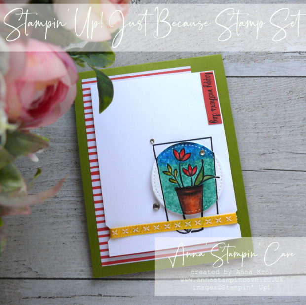 Anna' Stampin' Cave - Mother's Day card using watercolour pencils and Just Because Stamp Set by Stampin' Up!