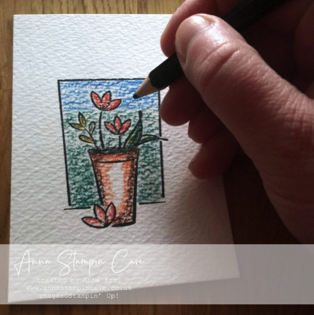 Anna' Stampin' Cave - Mother's Day Card plus using watercolour pencils as on-the-go paint